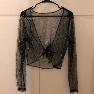 Sheer cover up tie front top